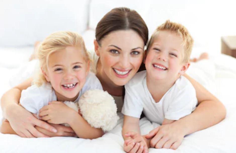 Happy children with childminder